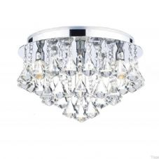 Dar Lighting - Fringe 4 Light Flush (FRI0450) - IP44 4 x 25W G9 Halogen - Polished Chrome With Crystal Glass Decoration
